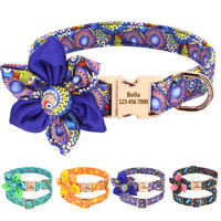 Flower Custom Pet Dog Collars Personalised Pet Name ID Collar Small Medium Large