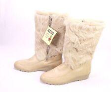 C299 Damen Fellstiefel Yeti Boots Leder Fell beige Gr. 39 Vintage ungetragen