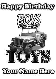 A5 Personalised Greeting Card Willys Jeep car Boys & Their Toys Birthday PID421