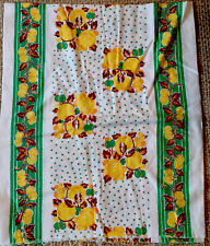Vintage tea towel linen fabric Green Yellow 37x44inches