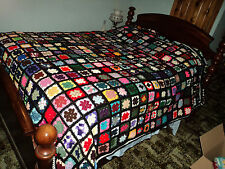 Black and Multi-color Granny Squares Afghan Queen size Hand made new