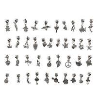 40pcs Lots Wholesale Tibetan Silver Charm Beads Fit European Chain Bracelet NN