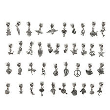40pcs Lots Wholesale Tibetan Silver Charm Beads Fit European Chain Bracelet HOT~