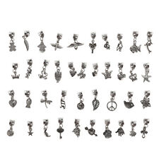 40pcs Lots Wholesale Tibetan Silver Charm Beads Fit European Chain Bracelet JB