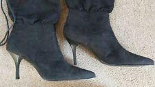 FIONI Black Stiletto Faux Suede Fashion Ankle Mid Calf Ankle Boots Shoes Size 7