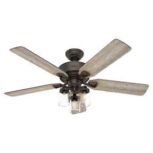 """Hunter Fan Company Devon Park 52"""" Ceiling Fan w/ 3 Lights & Remote, Onyx Bengal"""