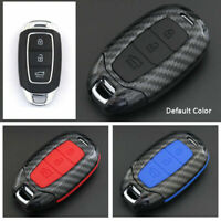 Carbon Fiber Design Shell+Silicone Cover Holder Fob Case For Hyundai Remote Key