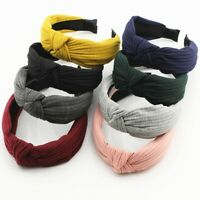 Women's Soft Headband Band Top Knot plain Headband Twist Hairband BJvt