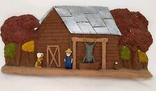 Vintage Painted Resin Country Barn Hog Butchering FOLK ART Home Decor Signed