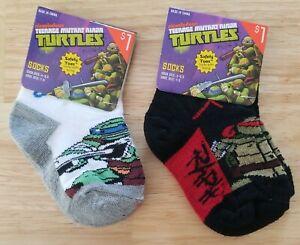 Teenage Mutant Ninja Turtles 2 Pair Boy's Sock Sz 4-5.5 Shoe Sz 1-5 Leo & Raph