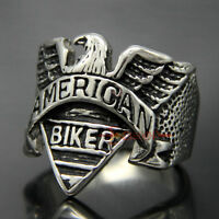 Vintage 316L Stainless Steel Eagle American Biker Engraving Cast Ring Men's Band