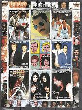 Queen 2002 Kyrgrzstan 9-Stamp Sheet; perf; Freddie Mercury Brian May - Killer!