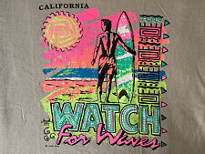 1987 VINTAGE T-SHIRT: 'WATCH FOR WAVES': HAVEN BRAND TEE: MINT: MEDIUM