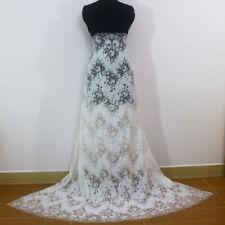 Wavy Style Eyelash Cotton Double Edge Net Lace Fabric Wedding Dress