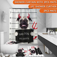 4 IN 1 Bad Dog Shower Curtain  Rug Set Non-Slip Bathroom Toilet Cover Mat US G