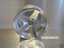 "(1) 15"" Aluminum 5 STAR Trailer Rims Cargo Tires Wheels Utility ;SS cap/lug nuts"