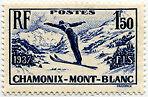 """FRANCE N°334 """"CHAMPIONNATS DE SKI A CHAMONIX, 1 F 50"""" NEUF xxTTB"""