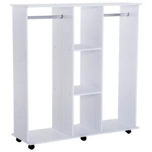 Portable Open Closet Rack White Wooden Clothing Storage w/ Shelves Hanging Rail