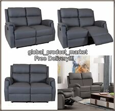 LUXURY Cinema Sofa 2 Seat Grey Settee Bonded Leather TV Couch Home Recliner NEW
