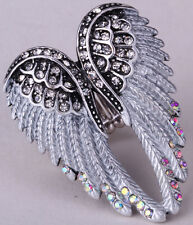 Angel wing stretch ring women biker bling jewelry antique gold silver plated 2Q