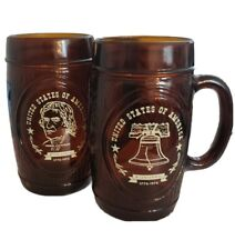 Vtg Bicentennial 1976 Brown Glass Mug Glass Set of 2 Designs - Here's to America