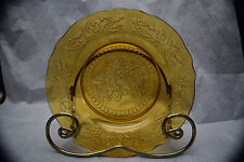 Two Beautiful Amber Plates - 8 inches across - Maker Unknown - Rose Motif Rim