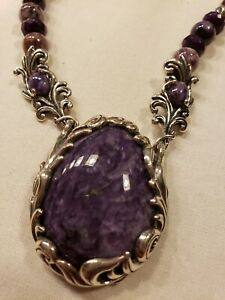 Carolyn Pollack Sterling Silver Necklace with  Charoite Gorgeous Purple!