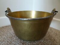 Antique Heavy Brass Pancheon Cooking/Baking Pot with Over Handle (Bread Cream)