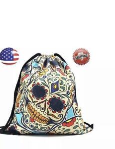 Drawstring Sugar Skull Backpack String Bag Carry-Sack Pack Sport Gym Travel Tote