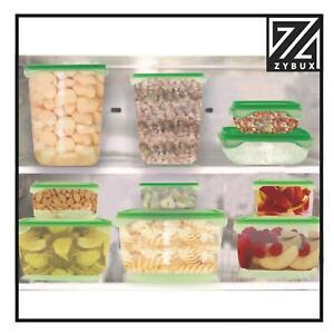 Plastic FOOD CONTAINER Sets Fridge Freezer Storage Tubs & Lids Green set of 17