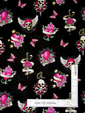 Skull Rose Tattoo Hearts Pink Toss Black Cotton Fabric Traditions By The Yard