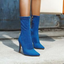 Sexy Womens Suede High Heel Pointy Toe Stretchy High Top Side Zip Ankle Boots @
