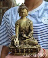 "8"" tibetan buddhism temple brass Herbs HEALING Medicine Buddha sakyamuni statue"