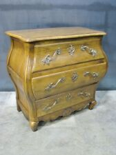 Vintage Baker Furniture French Country Oak Bombe 3 Drawer Chest; Rococo Hardware