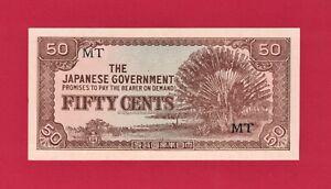 MALAYA NETHERLANDS INDIES UNC- Japanese Occup 50 Cents 1942 (Pick-M4b) Block: MT