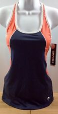 NWT Head Tennis Workout Tank Bra Top Gray Coral Racer Back XS NEW $30 Rtl