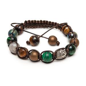 Shamballa Gemstone Bracelet Brown Buddha Malachite Labrodite Green Tigers Eye UK