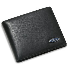 Ford Bifold Wallet Black Genuine Leather Men Gift with 3 Credit Card & ID Window