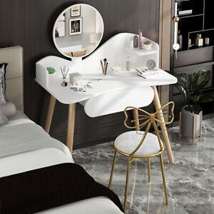 Modern Dressing Table w/ Mirror Drawer Organiser Vanity Makeup Desk Wood Bedroom