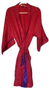 Vintage Gold Tag Victorias Secret Red Purple  Floral Robe 80s