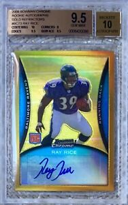 2008 BOWMAN CHROME GOLD REFRACTOR AUTO /25 RAY RICE BGS 9.5 CARDREGISTRY