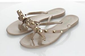 R43 $425 Women's Sz 38 M Valentino Rockstud Jelly Bow Sandals In Poudre