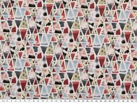 Baumwoll-Popeline, Digitaldruck, Dreiecke, 150cm