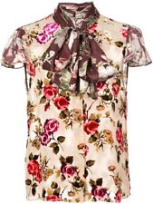 Alice + Olivia Jeannie  bow Collar Blouse Top Floral Size M NWOT