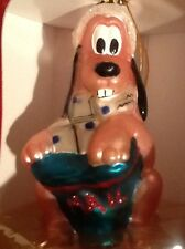 DISNEY MOUTH BLOWN EUROPEAN GLASS LARGE  SANTA HAT GOOFY CHRISTMAS ORNAMENT