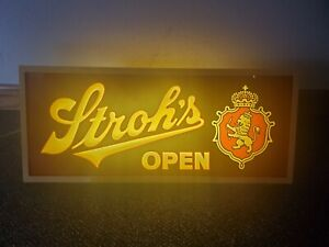 RARE Strohs Beer Lighted Sign Vintage Bar Advertisement