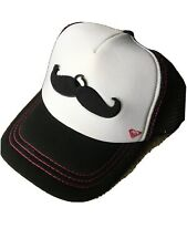 Roxy Mustache Hat Truckers Cap Removable I <3 Staches SnapBack Black White Pink