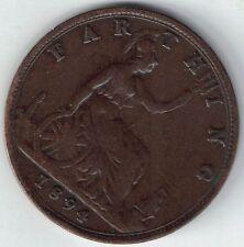 GB-UK 1894 1/4 D Farthing victoria 1837-1901 Extra Fino Cartera De Sellado