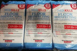 3x 20 Large Floor Alcohol Anti Viral Disinfecting Cleaning Wipes(Total 60 Wipes)
