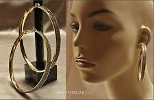 """LARGE GOLD ACRYLIC 3"""" DOUBLE ROW PAVE CRYSTAL HOOP STATEMENT EARRINGS NEW"""